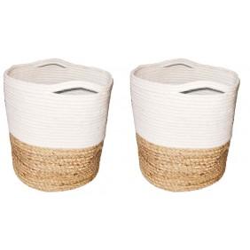 Braided Jute and Cotton Basket  (Set of 2 PCS)