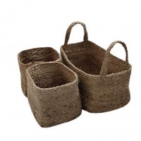 Braided Jute and Cotton Basket (SET OF 3 PCS)