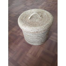 Natural Braided Jute Basket with Lid