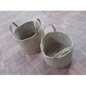 Natural Braided Jute Basket - Set of 2 pcs
