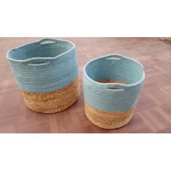 Jute  & Cotton Braided Basket - Set of 2 PCS